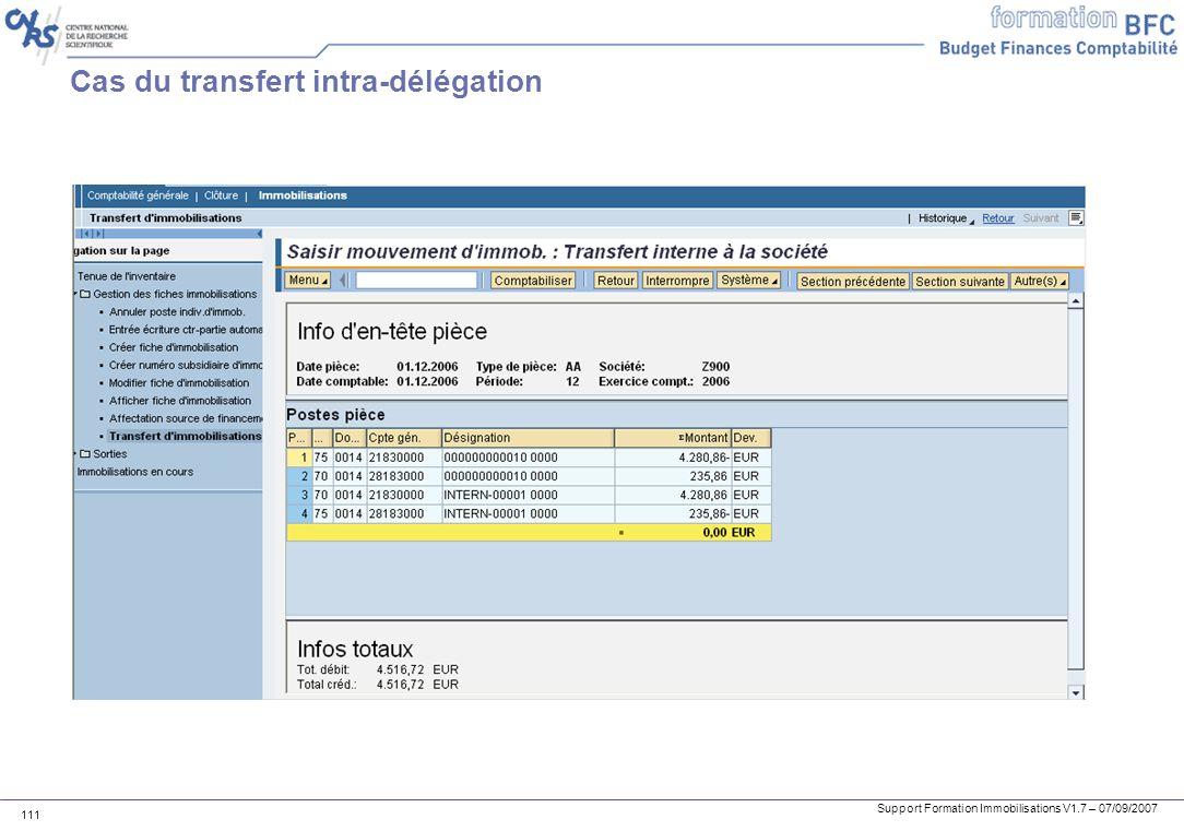 Support Formation Immobilisations V1.7 – 07/09/2007 111 Cas du transfert intra-délégation