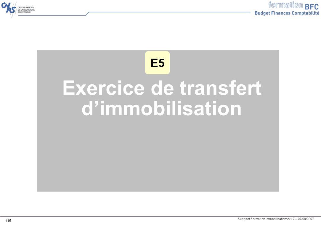 Support Formation Immobilisations V1.7 – 07/09/2007 115 Exercice de transfert dimmobilisation E5
