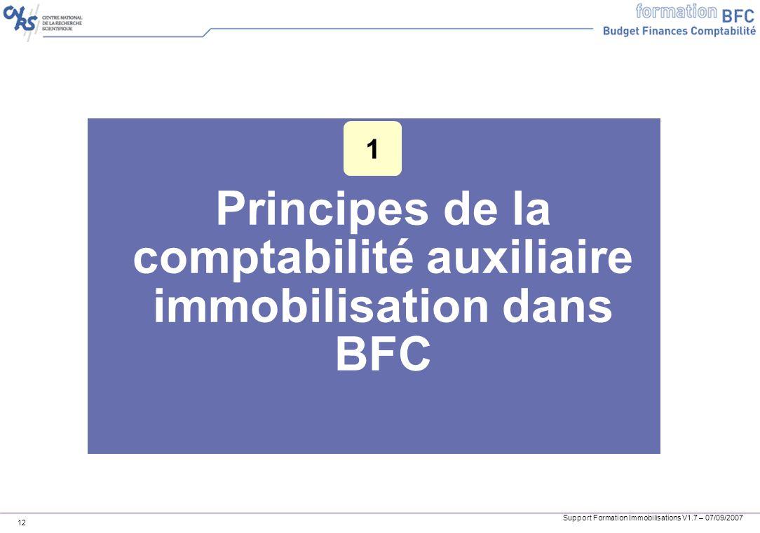 Support Formation Immobilisations V1.7 – 07/09/2007 12 Principes de la comptabilité auxiliaire immobilisation dans BFC 1