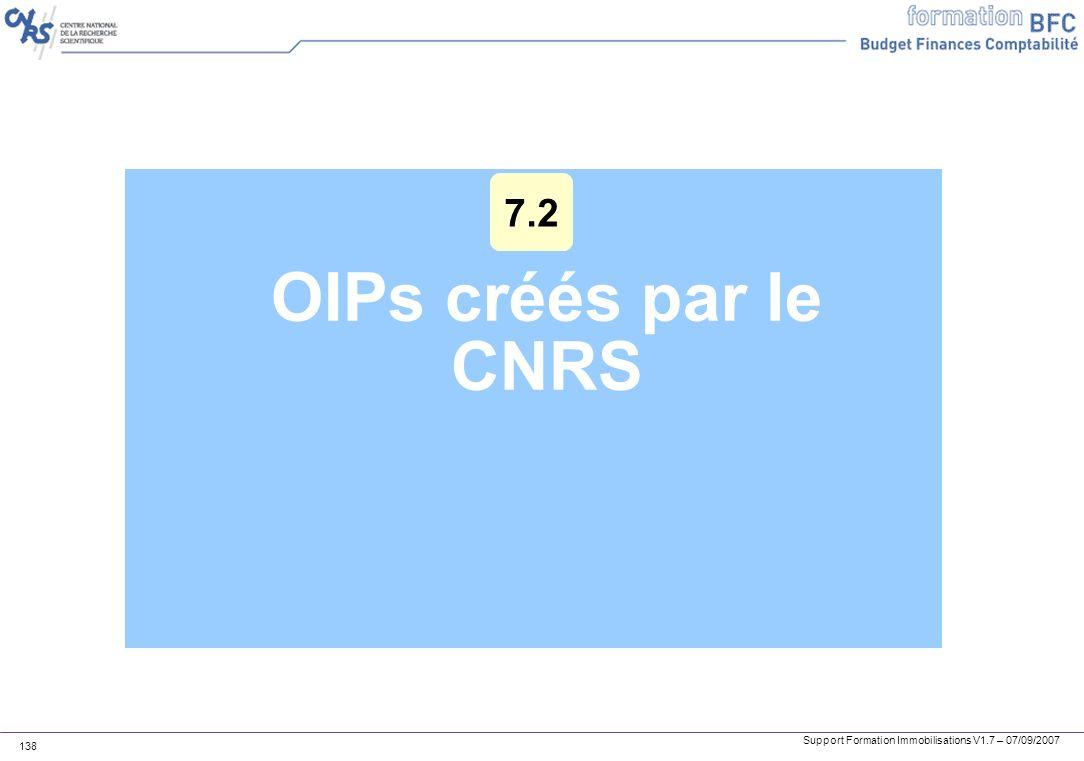 Support Formation Immobilisations V1.7 – 07/09/2007 138 OIPs créés par le CNRS 7.2