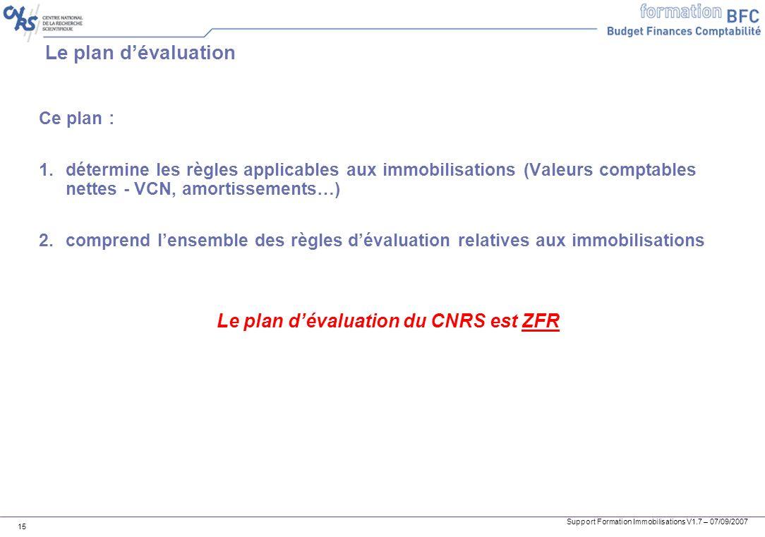 Support Formation Immobilisations V1.7 – 07/09/2007 15 Le plan dévaluation Ce plan : 1.détermine les règles applicables aux immobilisations (Valeurs c