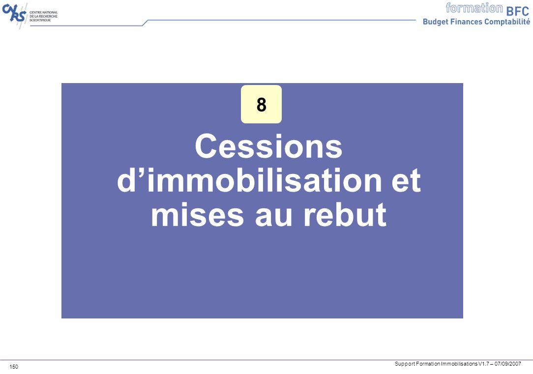 Support Formation Immobilisations V1.7 – 07/09/2007 150 Cessions dimmobilisation et mises au rebut 8