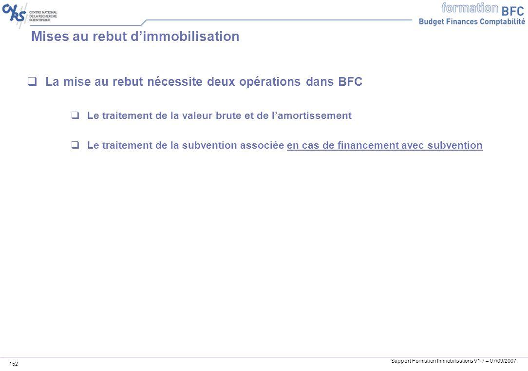 Support Formation Immobilisations V1.7 – 07/09/2007 152 Mises au rebut dimmobilisation La mise au rebut nécessite deux opérations dans BFC Le traiteme