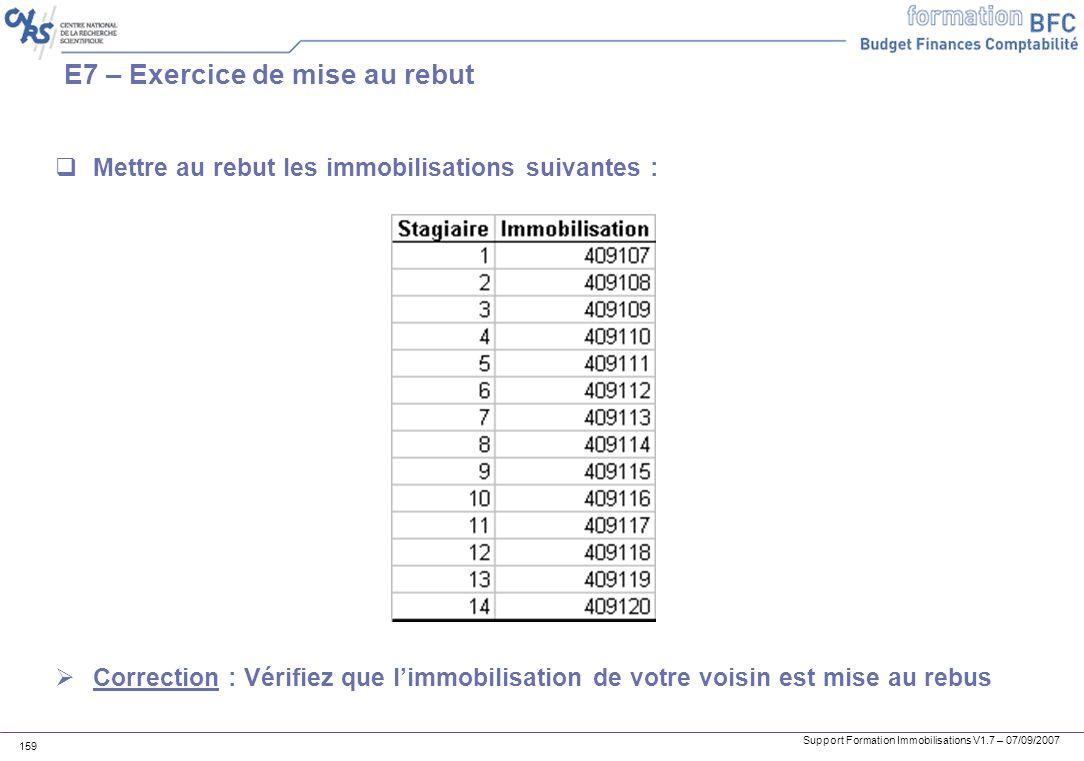 Support Formation Immobilisations V1.7 – 07/09/2007 159 E7 – Exercice de mise au rebut Mettre au rebut les immobilisations suivantes : Correction : Vé