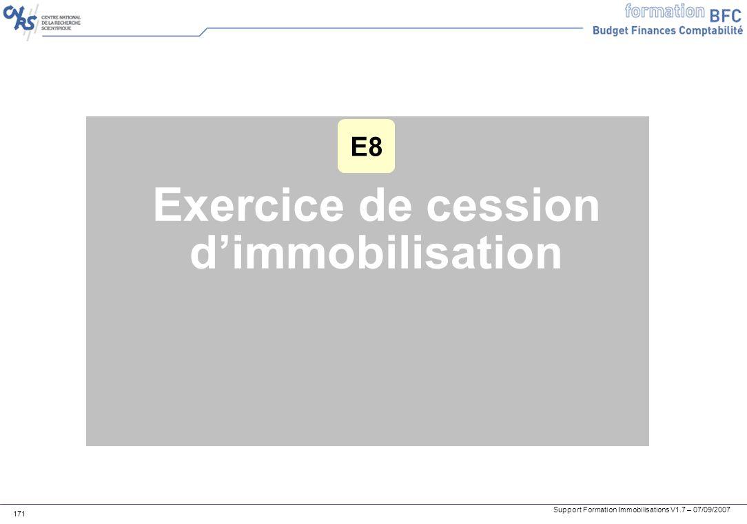 Support Formation Immobilisations V1.7 – 07/09/2007 171 Exercice de cession dimmobilisation E8