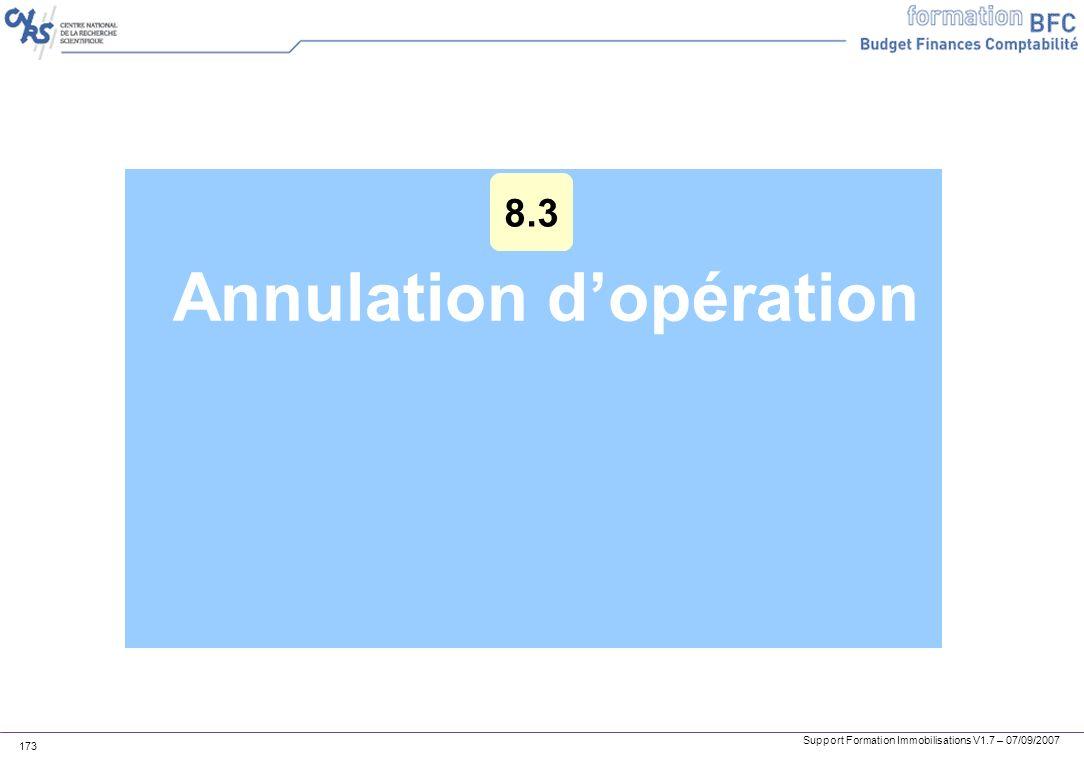 Support Formation Immobilisations V1.7 – 07/09/2007 173 Annulation dopération 8.3