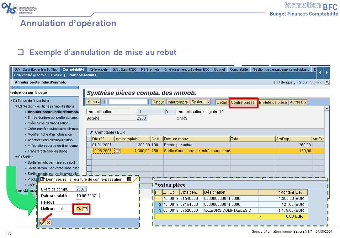 Support Formation Immobilisations V1.7 – 07/09/2007 175 Annulation dopération Exemple dannulation de mise au rebut