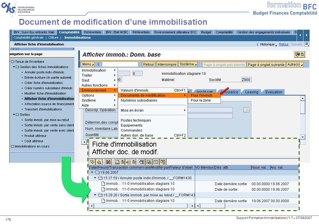 Support Formation Immobilisations V1.7 – 07/09/2007 176 Document de modification dune immobilisation