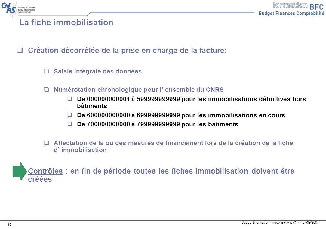 Support Formation Immobilisations V1.7 – 07/09/2007 18 La fiche immobilisation Création décorrélée de la prise en charge de la facture: Saisie intégra