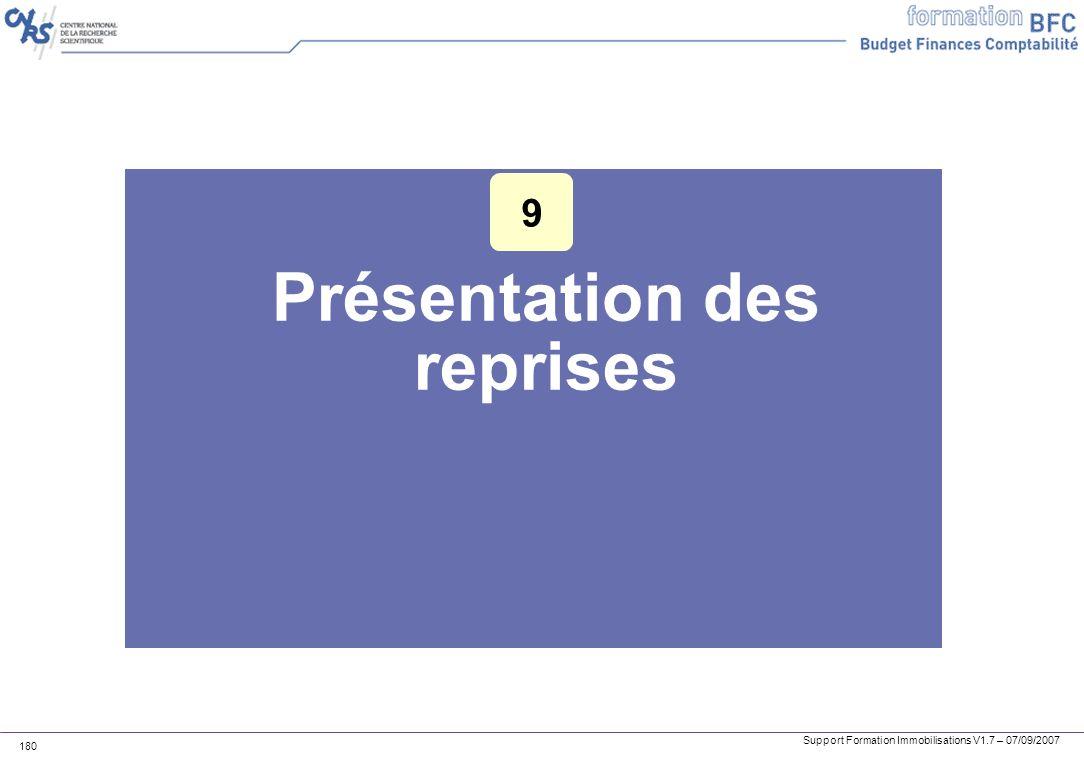 Support Formation Immobilisations V1.7 – 07/09/2007 180 Présentation des reprises 9