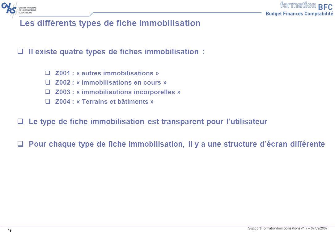 Support Formation Immobilisations V1.7 – 07/09/2007 19 Les différents types de fiche immobilisation Il existe quatre types de fiches immobilisation :