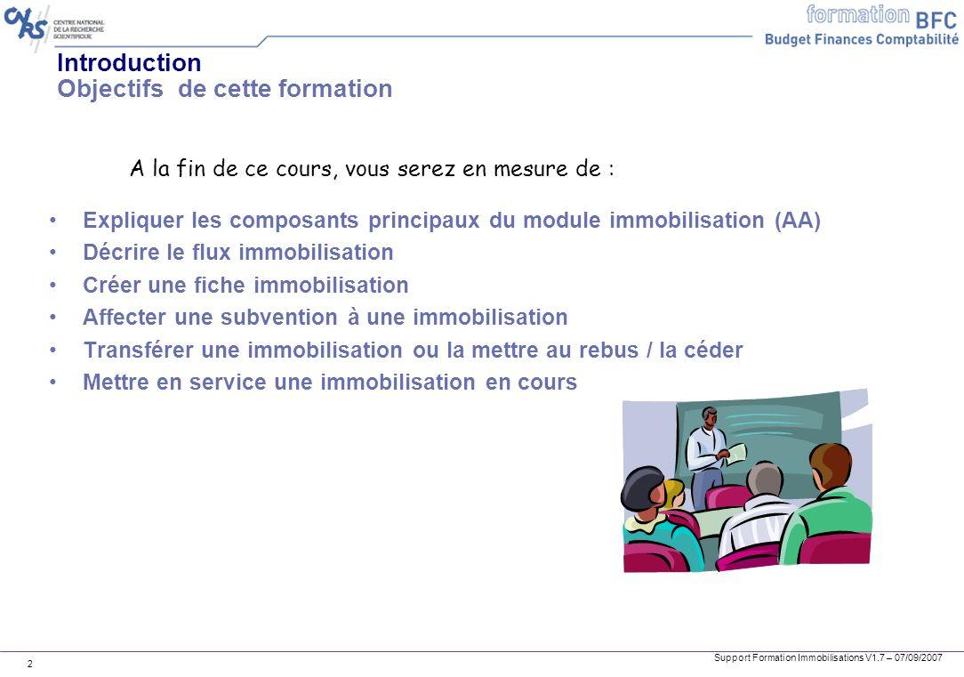 Support Formation Immobilisations V1.7 – 07/09/2007 2 Introduction Objectifs de cette formation Expliquer les composants principaux du module immobili