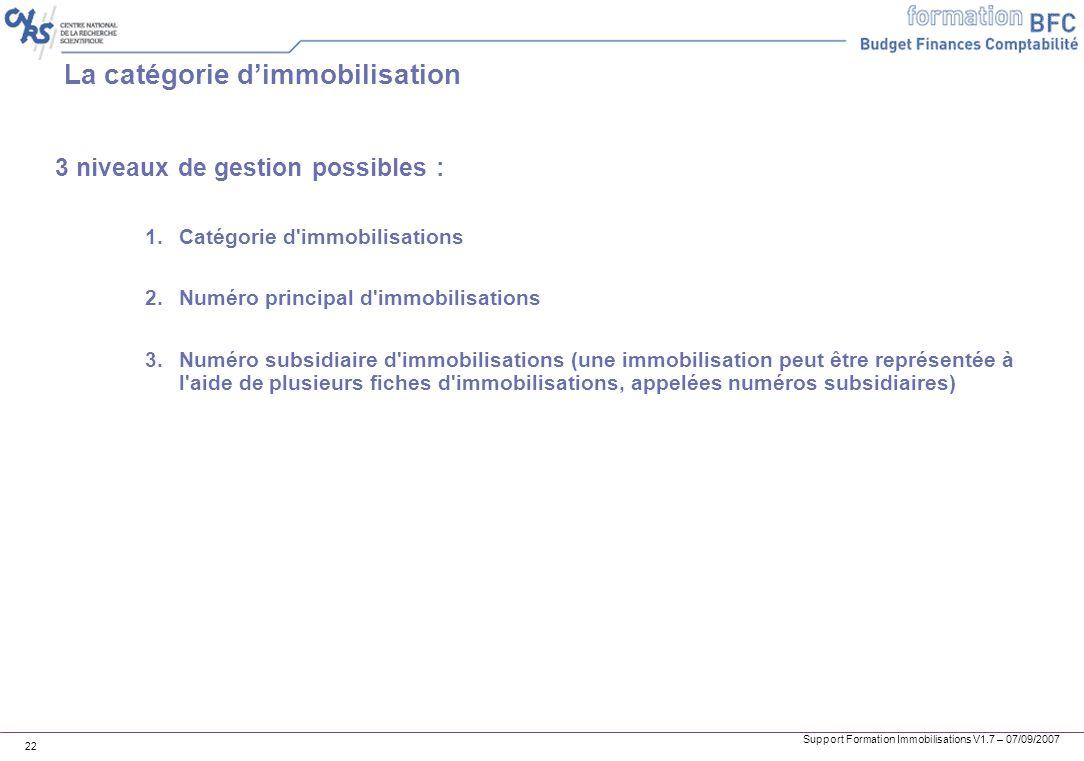 Support Formation Immobilisations V1.7 – 07/09/2007 22 La catégorie dimmobilisation 3 niveaux de gestion possibles : 1.Catégorie d'immobilisations 2.N
