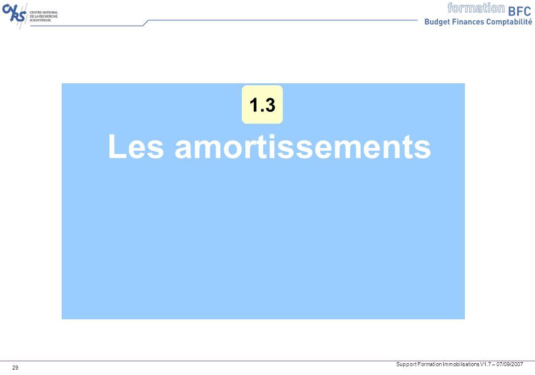 Support Formation Immobilisations V1.7 – 07/09/2007 29 Les amortissements 1.3
