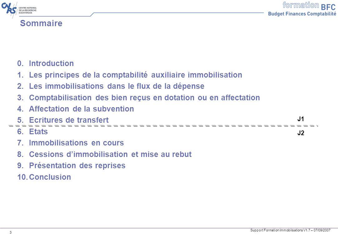 Support Formation Immobilisations V1.7 – 07/09/2007 3 Sommaire 0.Introduction 1.Les principes de la comptabilité auxiliaire immobilisation 2.Les immob