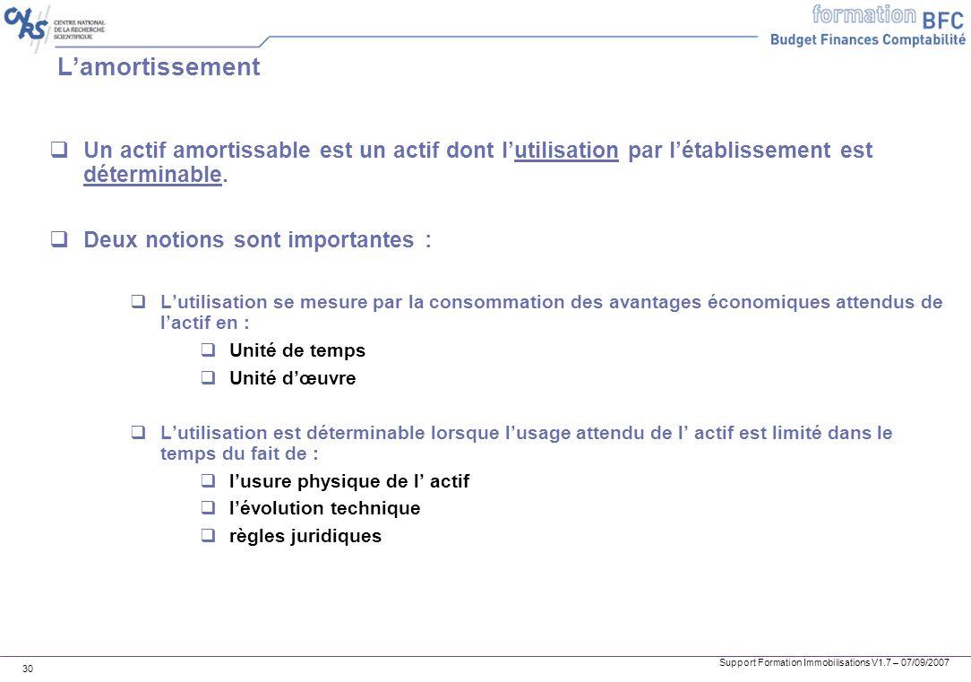 Support Formation Immobilisations V1.7 – 07/09/2007 30 Lamortissement Un actif amortissable est un actif dont lutilisation par létablissement est déte