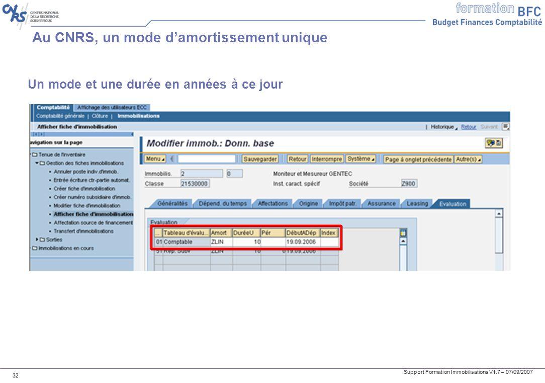 Support Formation Immobilisations V1.7 – 07/09/2007 32 Au CNRS, un mode damortissement unique Un mode et une durée en années à ce jour