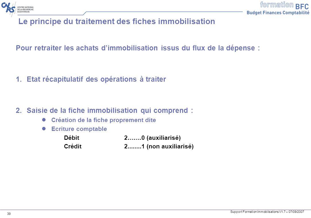 Support Formation Immobilisations V1.7 – 07/09/2007 39 Le principe du traitement des fiches immobilisation Pour retraiter les achats dimmobilisation i