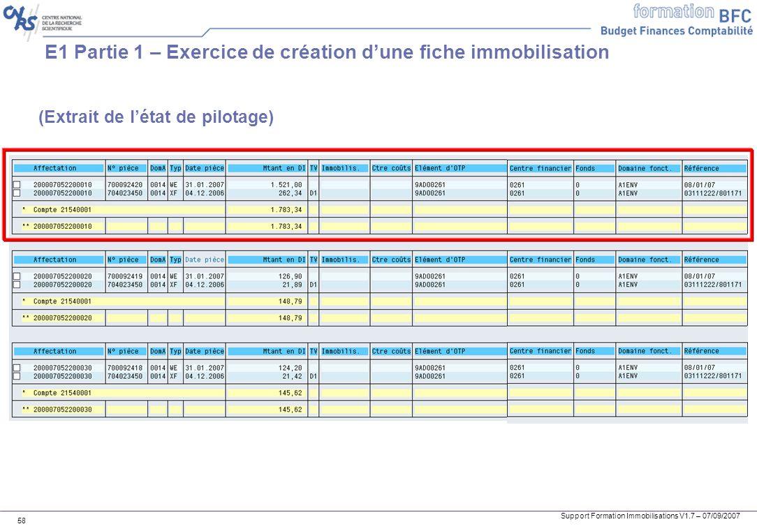 Support Formation Immobilisations V1.7 – 07/09/2007 58 E1 Partie 1 – Exercice de création dune fiche immobilisation (Extrait de létat de pilotage)
