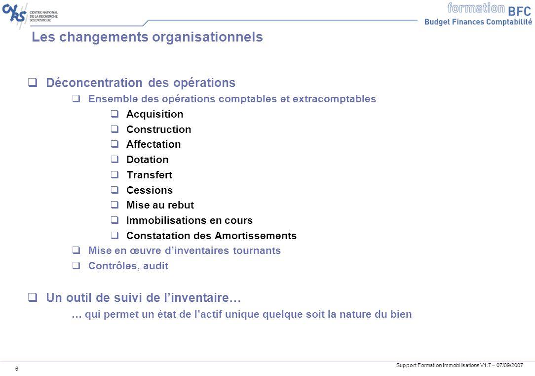 Support Formation Immobilisations V1.7 – 07/09/2007 6 Les changements organisationnels Déconcentration des opérations Ensemble des opérations comptabl