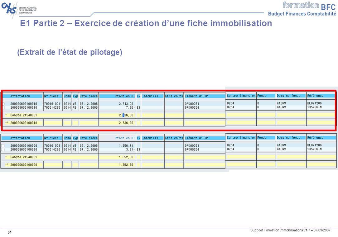 Support Formation Immobilisations V1.7 – 07/09/2007 61 E1 Partie 2 – Exercice de création dune fiche immobilisation (Extrait de létat de pilotage)