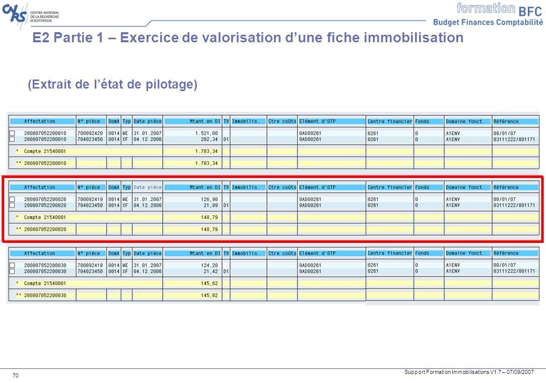 Support Formation Immobilisations V1.7 – 07/09/2007 70 E2 Partie 1 – Exercice de valorisation dune fiche immobilisation (Extrait de létat de pilotage)