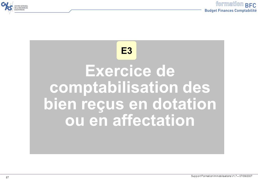 Support Formation Immobilisations V1.7 – 07/09/2007 87 Exercice de comptabilisation des bien reçus en dotation ou en affectation E3
