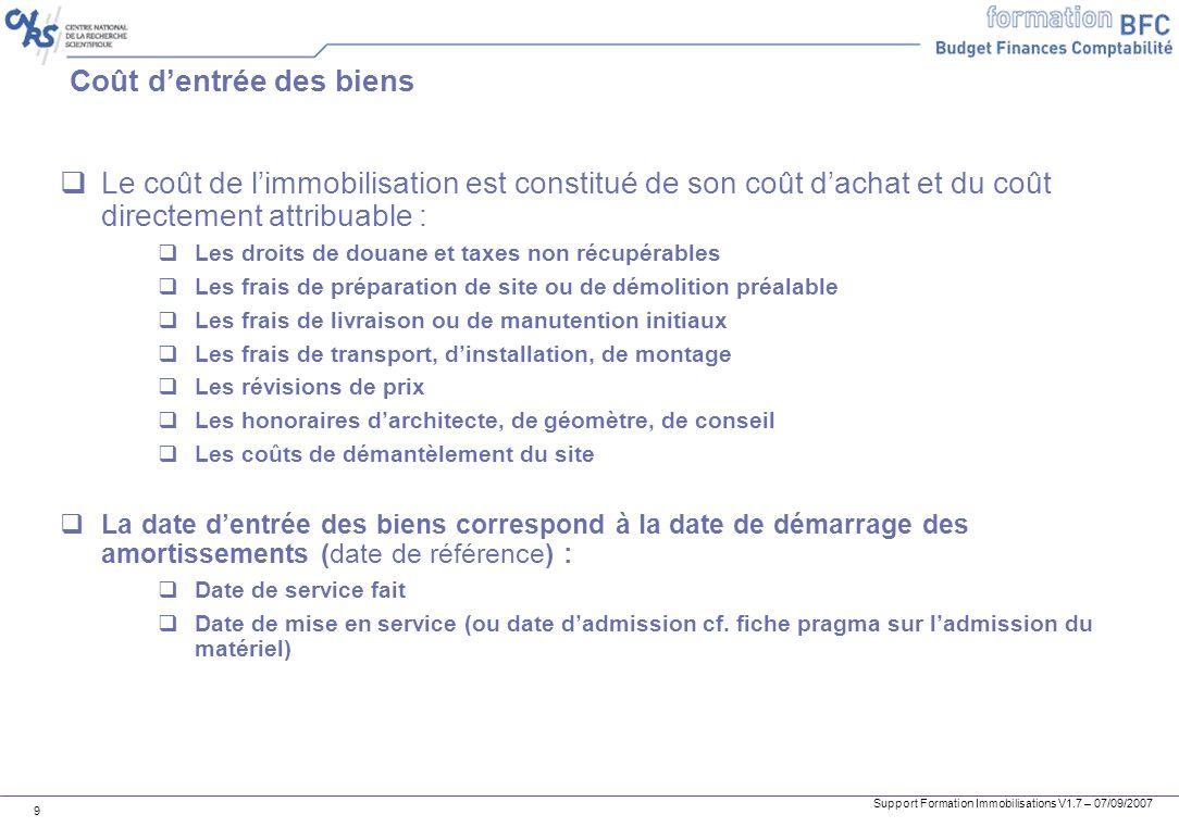 Support Formation Immobilisations V1.7 – 07/09/2007 9 Coût dentrée des biens Le coût de limmobilisation est constitué de son coût dachat et du coût di