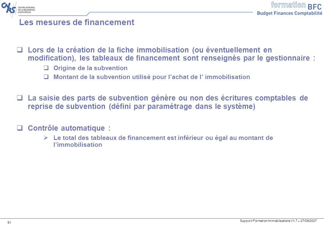 Support Formation Immobilisations V1.7 – 07/09/2007 91 Les mesures de financement Lors de la création de la fiche immobilisation (ou éventuellement en