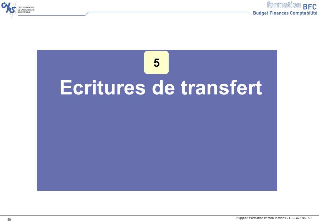Support Formation Immobilisations V1.7 – 07/09/2007 99 Ecritures de transfert 5