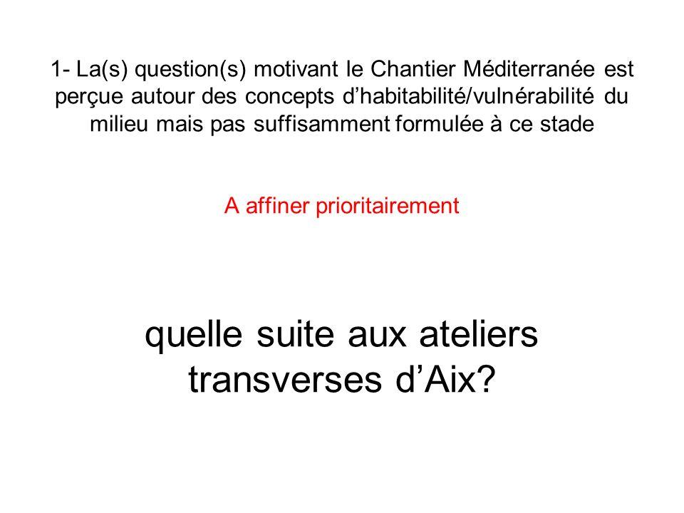 1- La(s) question(s) motivant le Chantier Méditerranée est perçue autour des concepts dhabitabilité/vulnérabilité du milieu mais pas suffisamment form