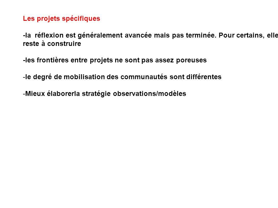 Les projets spécifiques -la réflexion est généralement avancée mais pas terminée. Pour certains, elle reste à construire -les frontières entre projets