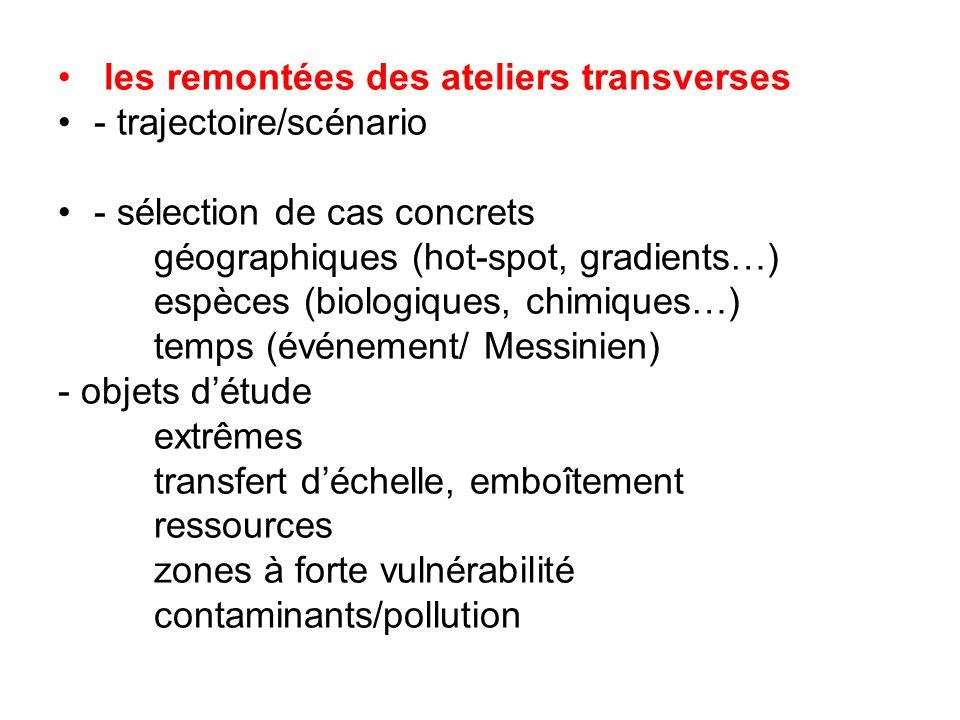 les remontées des ateliers transverses - trajectoire/scénario - sélection de cas concrets géographiques (hot-spot, gradients…) espèces (biologiques, c