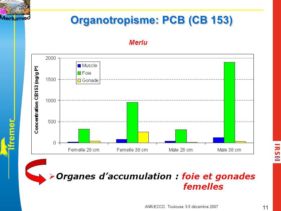 l f r e m e r ANR-ECCO, Toulouse 3-5 décembre 2007 11 Organotropisme: PCB (CB 153) Merlu Organes daccumulation : foie et gonades femelles