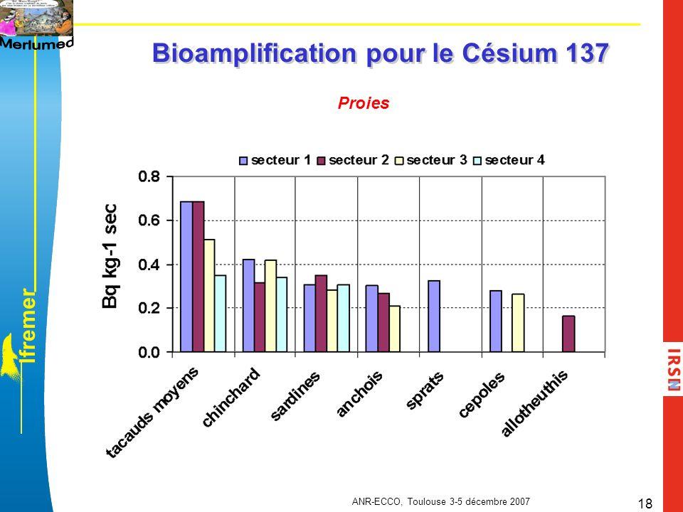 l f r e m e r ANR-ECCO, Toulouse 3-5 décembre 2007 18 Bioamplification pour le Césium 137 Proies
