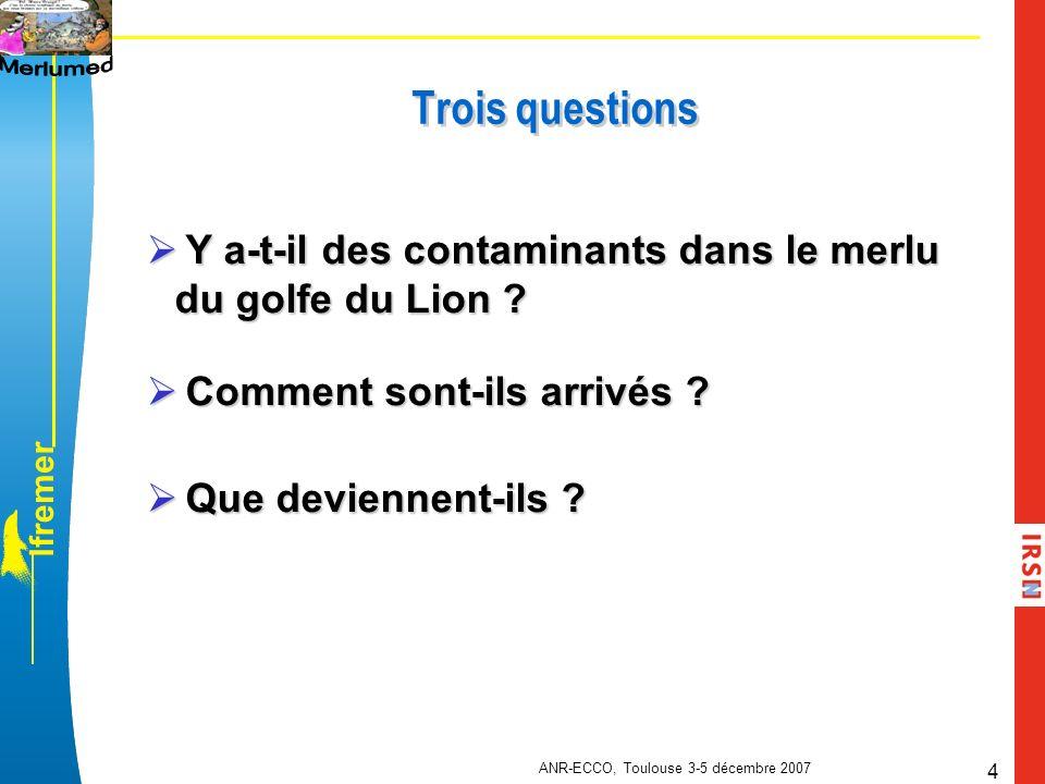 l f r e m e r ANR-ECCO, Toulouse 3-5 décembre 2007 4 Trois questions Y a-t-il des contaminants dans le merlu du golfe du Lion ? Y a-t-il des contamina