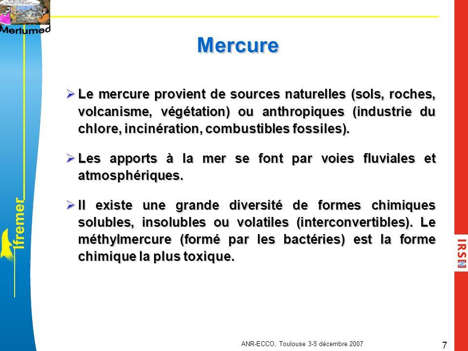 l f r e m e r ANR-ECCO, Toulouse 3-5 décembre 2007 8 Césium 137 Retombées atmosphériques : Retombées atmosphériques : Des essais des armes nucléaires dans latmosphère (1945-1980 avec un pic en 1963) De laccident de Tchernobyl (Avril 1986) Apports directs et indirects par lessivage du bassin versant du Rhône et des fleuves côtiers Apports directs et indirects par lessivage du bassin versant du Rhône et des fleuves côtiers Rejets des installations nucléaires Rejets des installations nucléaires Analogue du potassium et lipophobe Analogue du potassium et lipophobe