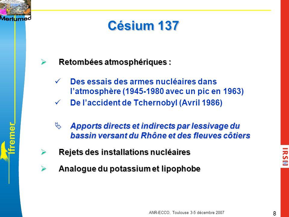 l f r e m e r ANR-ECCO, Toulouse 3-5 décembre 2007 9 Phytoplancton, zooplancton, suprabenthos, crevettes, gobies, tacauds, merlans bleus, chinchards, anchois, sardines, cépoles, merlus et sédiment 21 Campagnes Printemps et automne 2004, 2005, 2006 Zones détudes et principales espèces et compartiments échantillonnés Profondeurs: 30-50m 70-100m 200m 400m