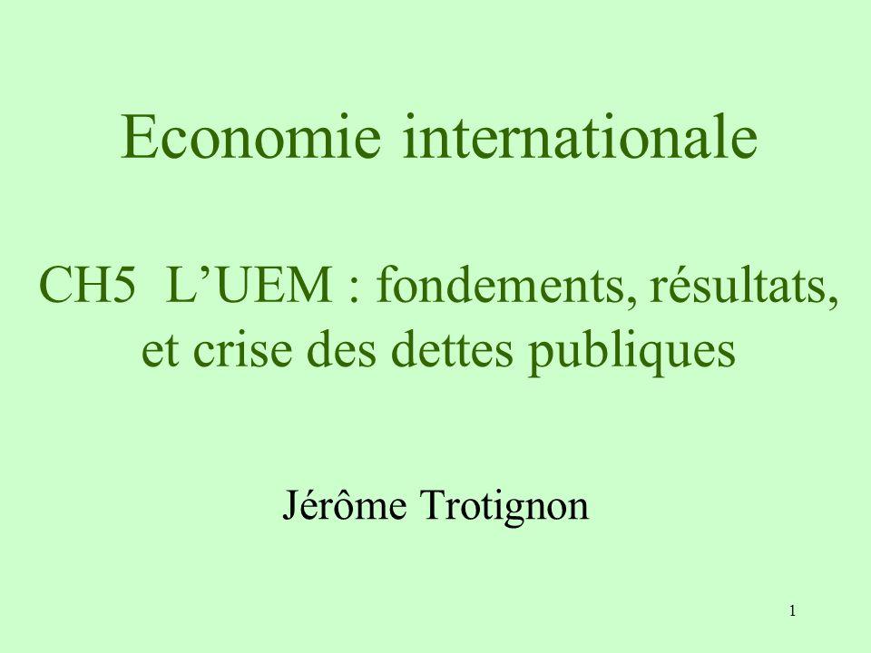 1 Economie internationale CH5 LUEM : fondements, résultats, et crise des dettes publiques Jérôme Trotignon