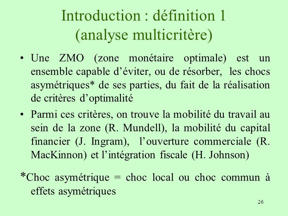 26 Introduction : définition 1 (analyse multicritère) Une ZMO (zone monétaire optimale) est un ensemble capable déviter, ou de résorber, les chocs asy