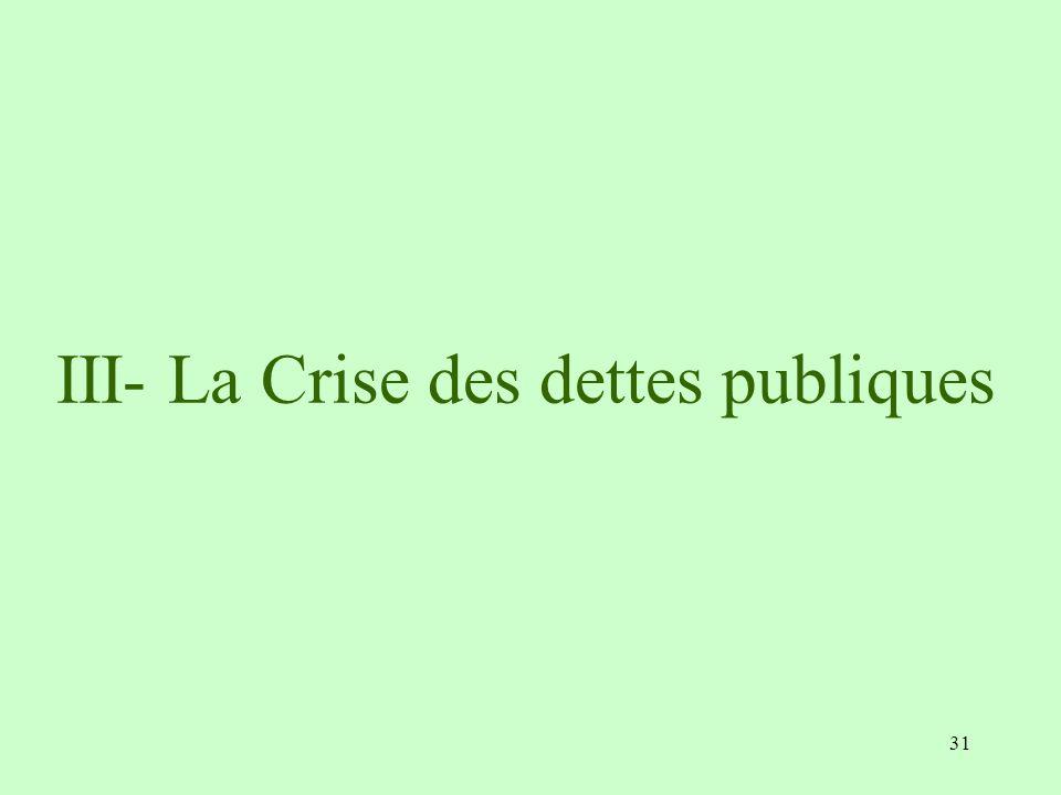 31 III- La Crise des dettes publiques