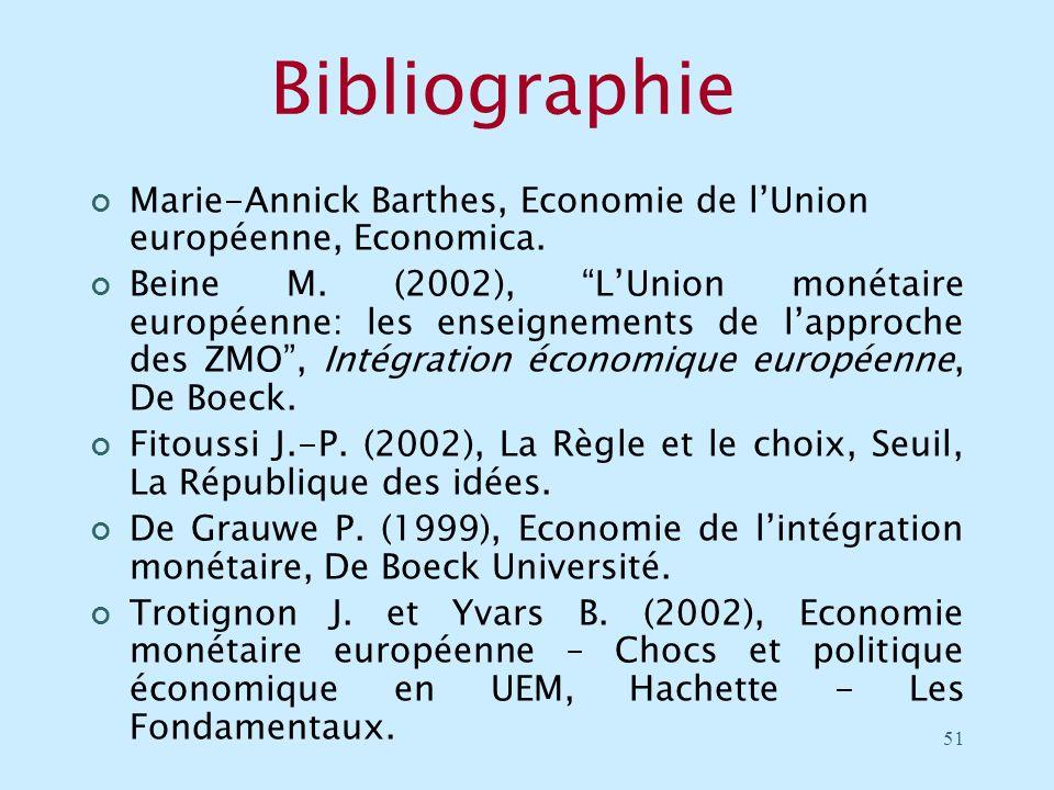 51 Bibliographie Marie-Annick Barthes, Economie de lUnion européenne, Economica. Beine M. (2002), LUnion monétaire européenne: les enseignements de la