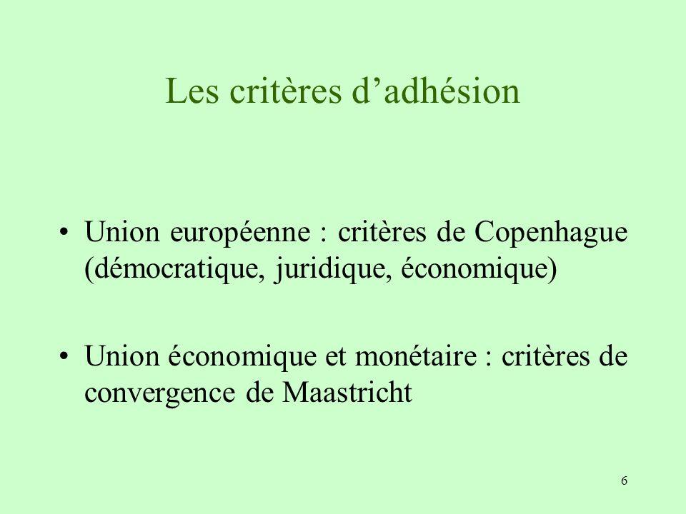 6 Les critères dadhésion Union européenne : critères de Copenhague (démocratique, juridique, économique) Union économique et monétaire : critères de c