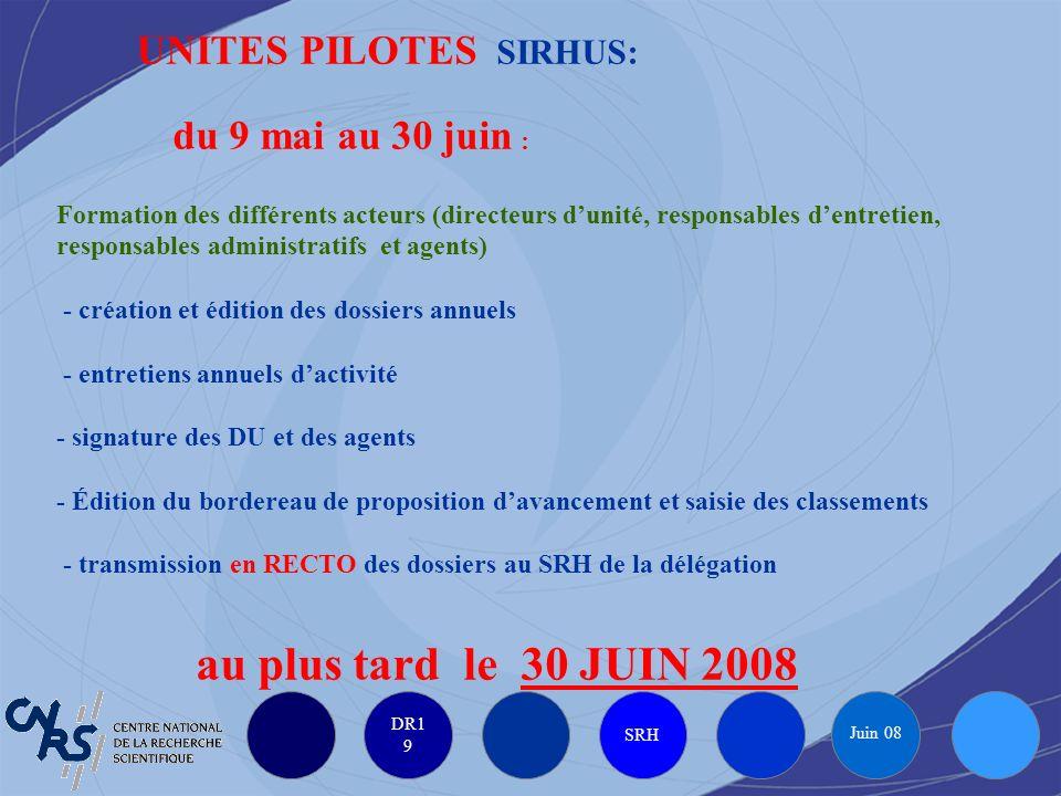 DR1 9 SRH Juin 08 UNITES PILOTES SIRHUS: du 9 mai au 30 juin : Formation des différents acteurs (directeurs dunité, responsables dentretien, responsab
