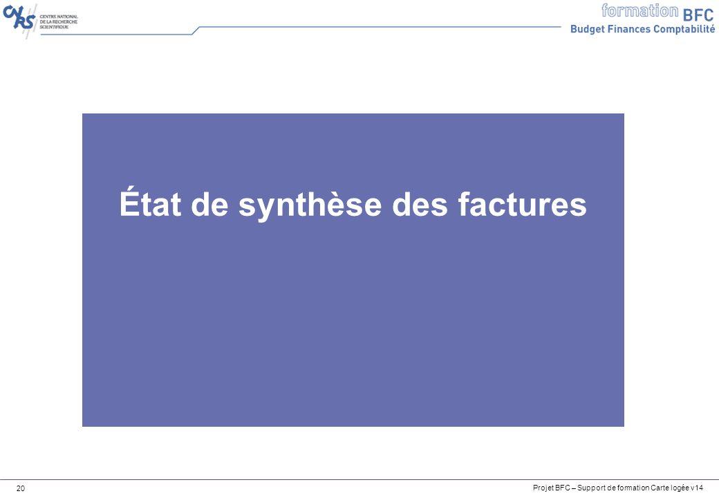Projet BFC – Support de formation Carte logée v14 20 État de synthèse des factures
