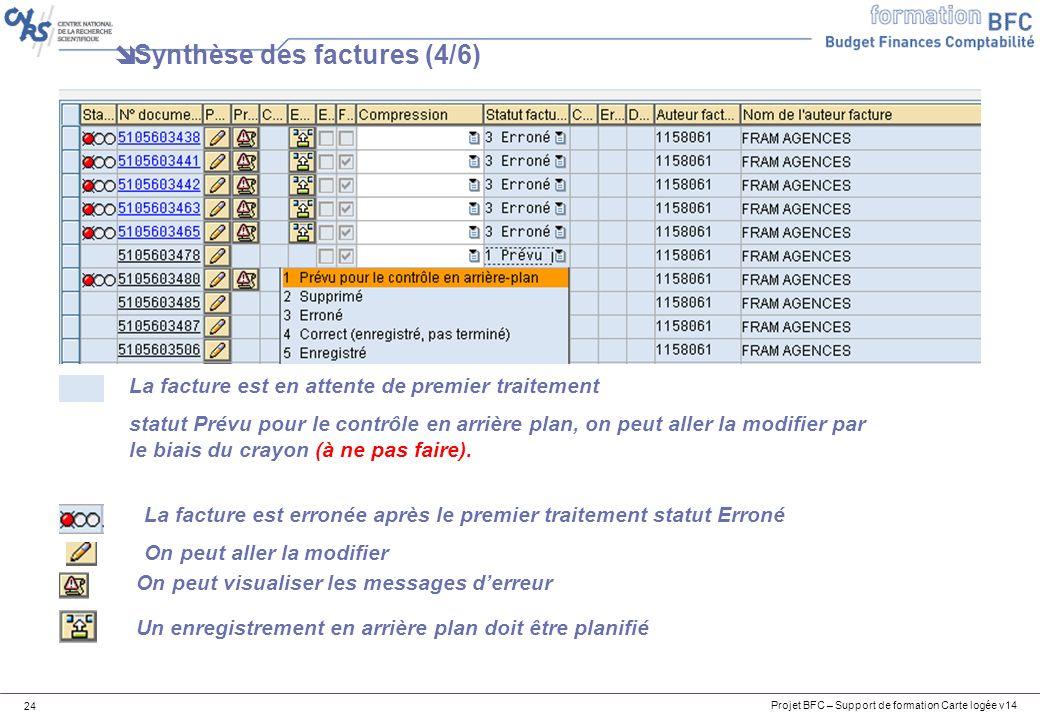 Projet BFC – Support de formation Carte logée v14 24 Synthèse des factures (4/6) La facture est en attente de premier traitement statut Prévu pour le contrôle en arrière plan, on peut aller la modifier par le biais du crayon (à ne pas faire).