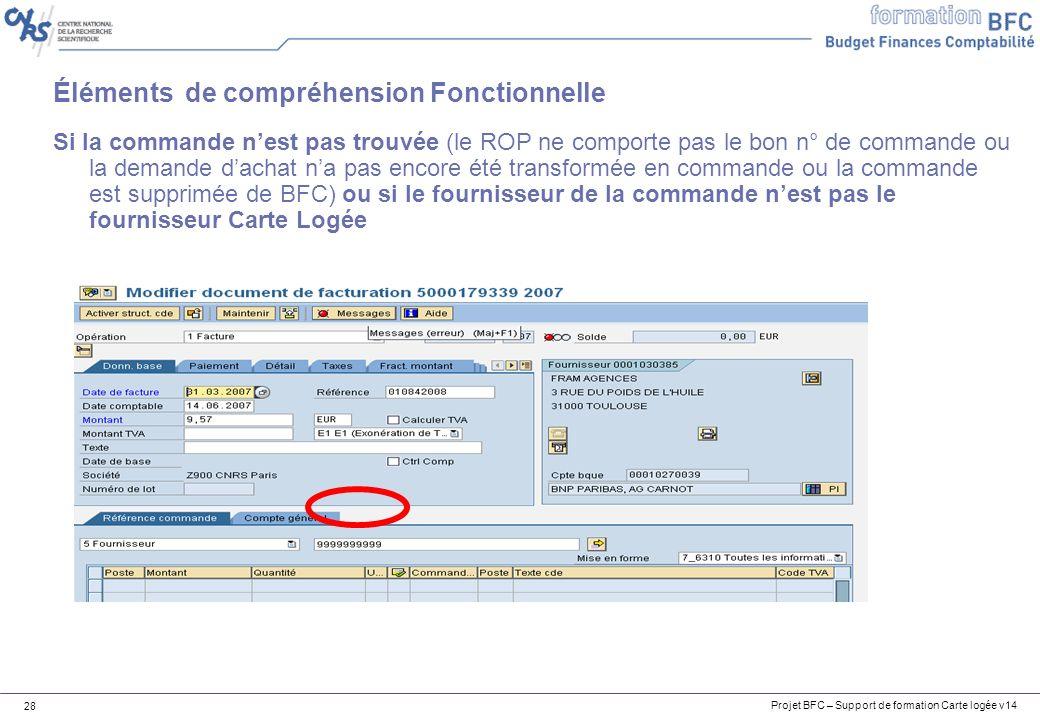 Projet BFC – Support de formation Carte logée v14 28 Éléments de compréhension Fonctionnelle Si la commande nest pas trouvée (le ROP ne comporte pas l