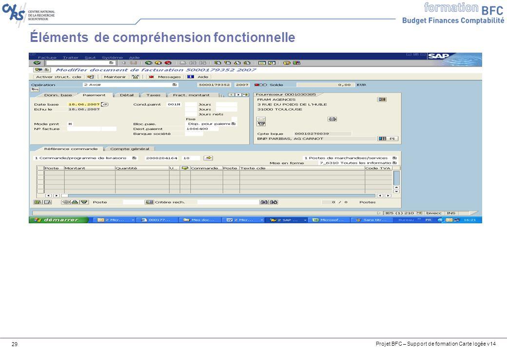 Projet BFC – Support de formation Carte logée v14 29 Éléments de compréhension fonctionnelle