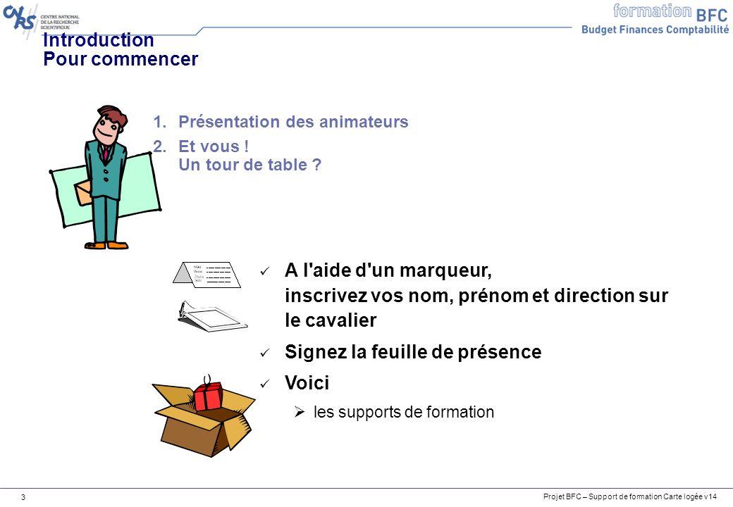 Projet BFC – Support de formation Carte logée v14 3 Introduction Pour commencer A l'aide d'un marqueur, inscrivez vos nom, prénom et direction sur le
