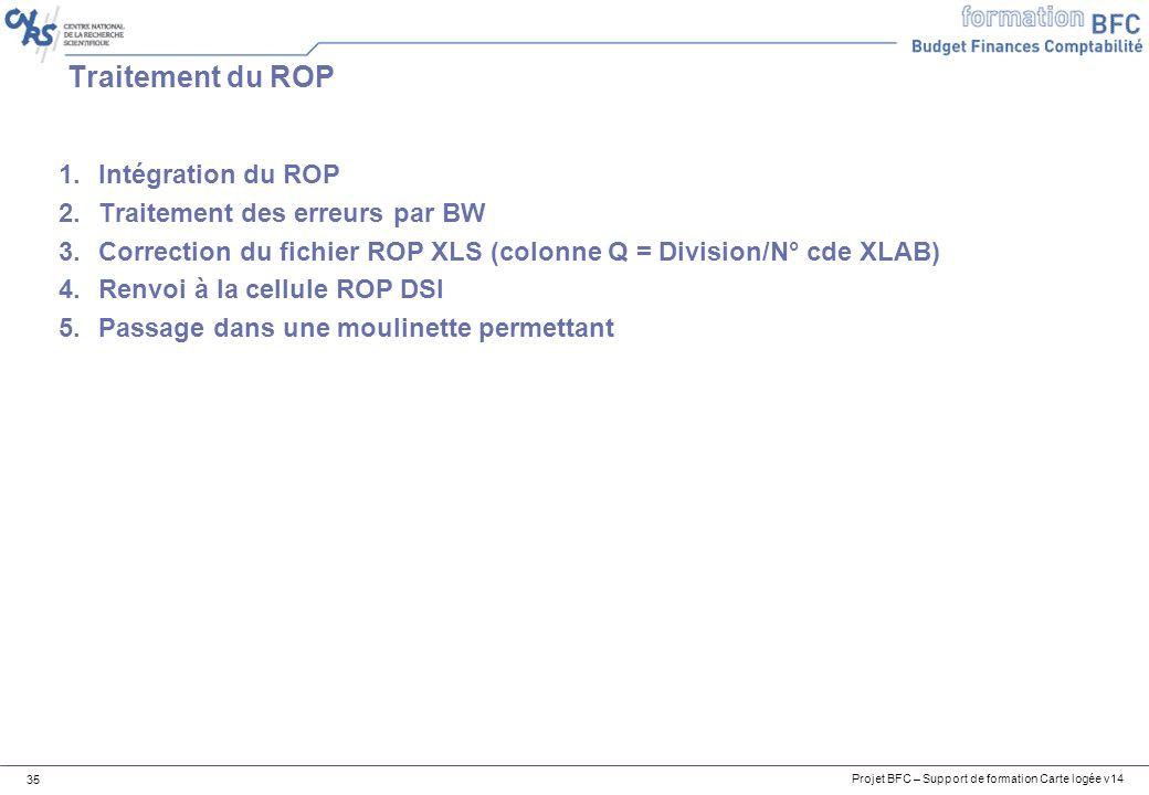 Projet BFC – Support de formation Carte logée v14 35 1.Intégration du ROP 2.Traitement des erreurs par BW 3.Correction du fichier ROP XLS (colonne Q = Division/N° cde XLAB) 4.Renvoi à la cellule ROP DSI 5.Passage dans une moulinette permettant Traitement du ROP